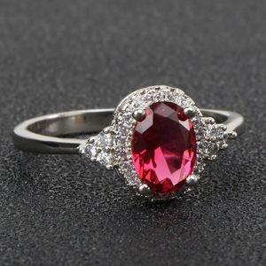 New Silver 925 women's ruby gemstone ring